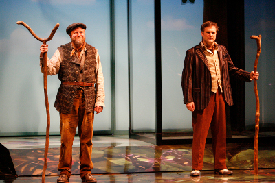 Randy Hughson (left) as Corin and Ben Carlson as Touchstone in As You Like It. Photography by David Hou. Image property of Stratford Shakespeare Festival