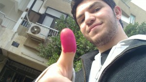 Mosaab ElShamy after voting in the Egyptian constitutional referendum